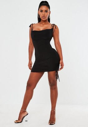 Missguided Black Slinky Cowl Neck Ruched Bodycon Mini Dress