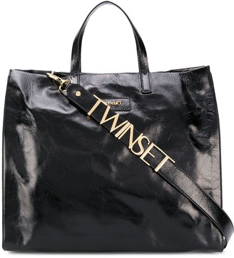 Twin-Set Logo Patch Cracked-Effect Tote