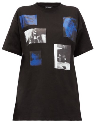 Raf Simons Blue Velvet-print Cotton-jersey T-shirt - Black