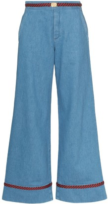 Gucci Web trim wide-leg jeans