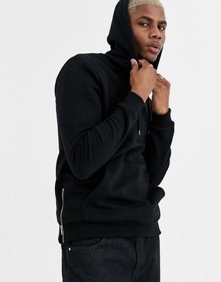 ASOS DESIGN hoodie in black with silver side zips