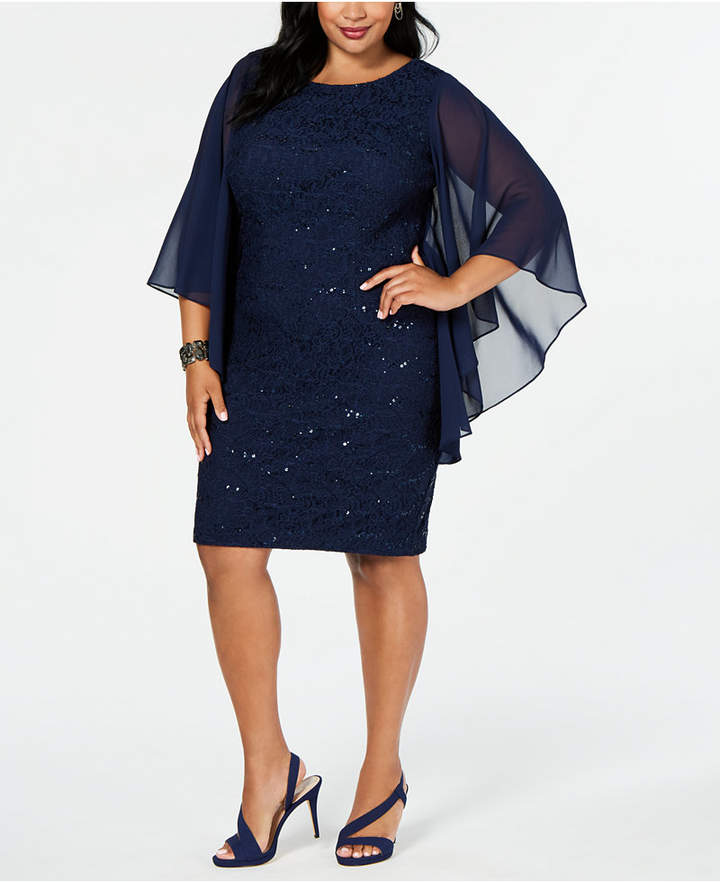 Plus Size Lace Cape-Sleeve Sheath Dress