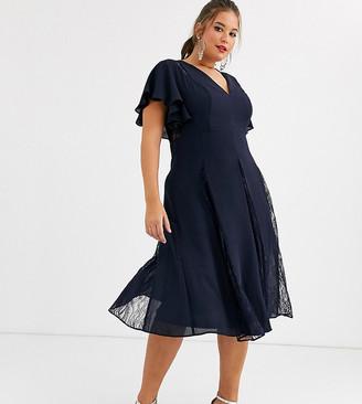 Asos DESIGN Curve midi dress with lace godet panels-Navy