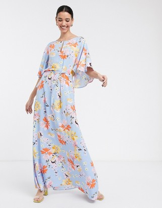 Soaked In Luxury floral cape maxi dress-Multi