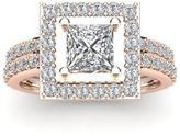 Ice 2 CT TW Diamond 14K Rose Gold Square Halo Ring Bridal Set
