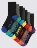 Marks and Spencer 7 Pairs of Cotton Rich FreshfeetTM Socks (3-16 Years)