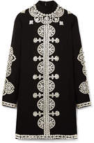 Tory Burch Sylvia Embellished Crepe Mini Dress - Black