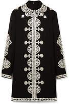 Tory Burch Sylvia Embellished Crepe Mini Dress - Black