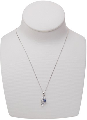Rhodium Plated Sterling Silver Pear White and Tanzanite Cubic Zirconia Mixed Cut Pendant Necklace