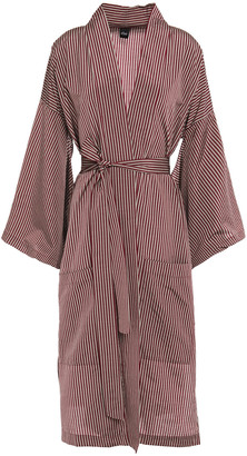 ELSE Dixie Belted Striped Cotton-blend Robe