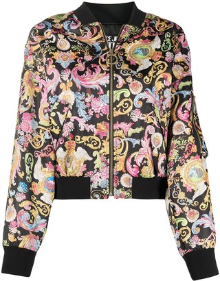 Versace Jeans Couture Baroque-Print Zip-Up Bomber Jacket