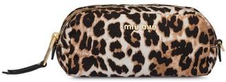Miu Miu leopard print faille zipped pouch