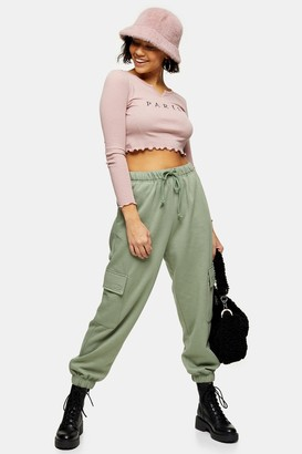 Topshop Womens Petite Green 90'S Joggers With Cargo Pockets - Green