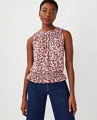 Ann Taylor Floral Gathered Shell Top