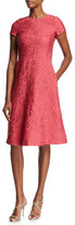 Escada Floral Matelassé Short-Sleeve Dress, Pink Myrtle