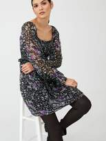 Very Georgette Shirred Tea Dress - Floral