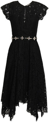 Joie Asymmetric Embellished Corded Lace Dress