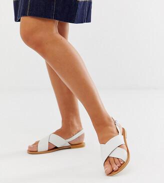 Asos Design DESIGN Wide Fit Valid leather cross strap flat sandals