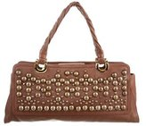 Oscar de la Renta Studded Leather Shoulder Bag