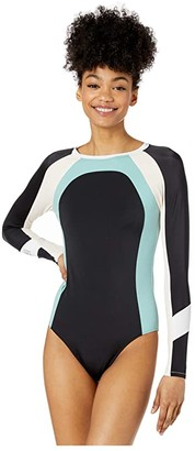 Roxy Fitness Color Block Long Sleeve One-Piece (Anthracite) Women's Jumpsuit & Rompers One Piece