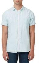 Topman Trim Fit Micro Stripe Short Sleeve Woven Shirt