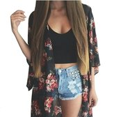 ZEAMO MIXMAX Women Flowy Sheer Crop Sleeves Loose Chiffon Kimono Cardigan Blouse Top