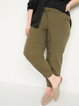 Old Navy High-Waisted Poplin Tapered Jogger Plus-Size Cargo Pants