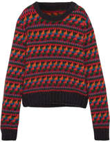 Burberry Intarsia Wool-blend Sweater - Red