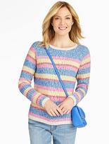Talbots Marled Multi-Stripe Pullover