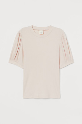 H&M Puff-sleeved ribbed top