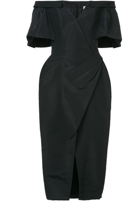 Carolina Herrera Off Shoulder Ruched Dress