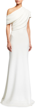 Badgley Mischka One-Shoulder Asymmetric Sleeve Crepe Gown