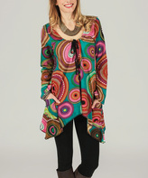 Aller Simplement Teal & Red Medallion Sidetail Tunic