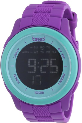 Breo Orb Ten Unisex Digital Watch with Turquoise Dial Digital Display and Purple Plastic or PU Strap B-TI-ORX214