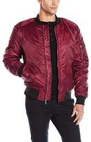 WT02 Men's Bomber Ma-1 Flight Jacket with Utility Zippered Pocket on Sleeve