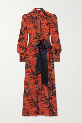 Bella Freud Mood For Love Belted Printed Silk Crepe De Chine Maxi Dress - Red