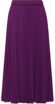 Marc Jacobs Pleated Crepe De Chine Midi Skirt - Purple