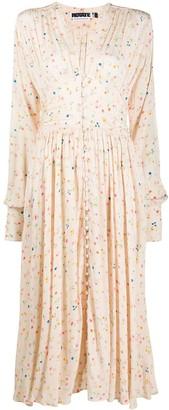 Rotate by Birger Christensen V-neck button down floral print dress