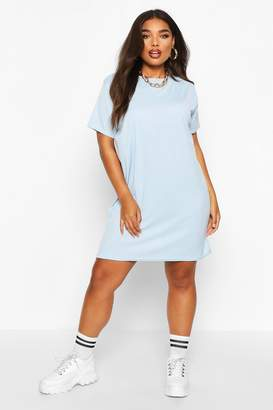 boohoo Plus Rib Knit T-Shirt Dress