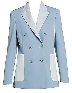 Stella McCartney Women's Colorblock Double-Breasted Stretch-Wool Blazer