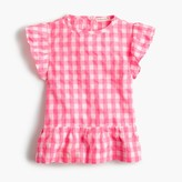 J.Crew Girls' cap-sleeve top in bright gingham