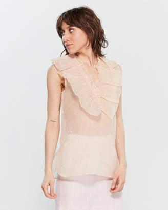 Marni Ruffled Sleeveless Cotton Organdy Top