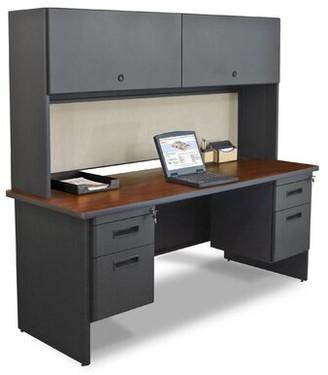 Crivello Executive Desk with Hutch Red Barrel Studio Finish: Mahogany/Dark Neutral