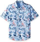 Izod Men's Slim Fit Saltwater Dockside Chambray Short Sleeve Button Down Patterned Shirt