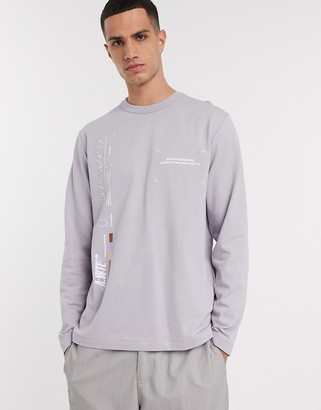 Asos loose fit t-shirt in lilac with graphic