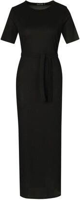 boohoo Tall Belted Rib T-Shirt Dress