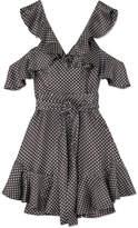 Zimmermann Cold-shoulder Ruffled Polka-dot Ottoman Mini Dress - Charcoal