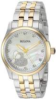 Bulova Women's Quartz Stainless Steel Casual Watch, Color:Two Tone (Model: 98P152)