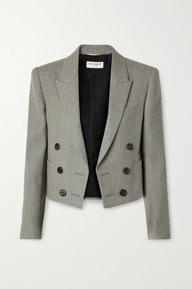 Saint Laurent Spencer Cropped Wool-twill Blazer - Gray