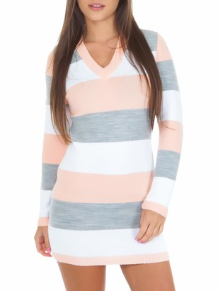 Love My Fashions Womens V-Neck Chunky Knitted Jumper Long Sleeve Full Length Stripe Stretchy Three Tone Ladies Dress |Size S M L XL